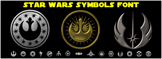 Star Wars Logos, Emblems and Symbols Font